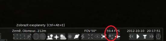 Po kliknutí na ikonku se zobrazí hvězdy s exoplanetami. Zdroj: Stellarium