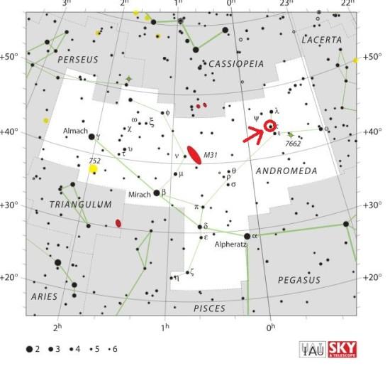 Pozice hvězdy Kappa And v souhvězdí Andromedy. Zdroj: Wikipedia