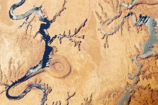 Hadi? Ne, jen kaňony a jezero Powell v Utahu a Arizoně z ISS. Credit: NASA