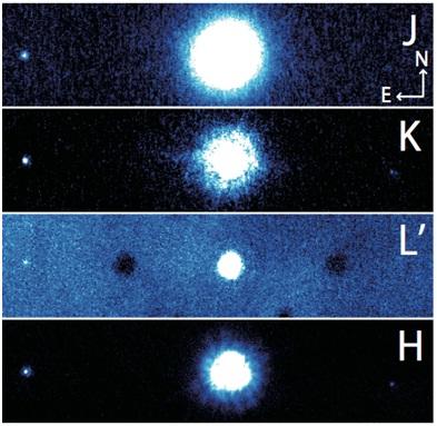 Hvězda HAT-P-7 A a její průvodce HAT-P-7 B na snímku z dalekohledu Subaru. Credit: NAOJ