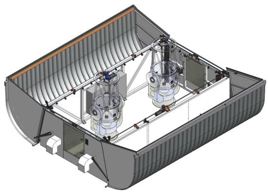 Schéma jednoho ze dvou stanovišť projektu MINERVA. Zdroj: Caltech