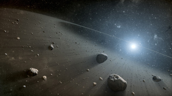 Disk v okolí hvězdy Vega v představách malíře. Credit: ESA