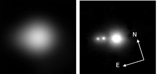 """Zatímco Kepler vidí jen """"jednu hvězdu"""", jedná se ve skutečnosti o hvězdy tři. Credit: Adams et al."""