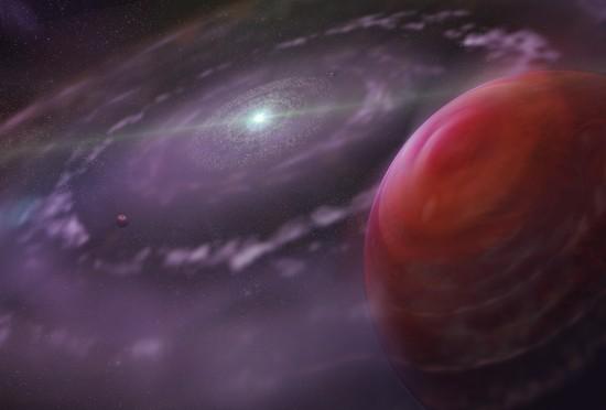 Exoplaneta HR 8799 c v představách malíře. Credit: Dunlap Institute for Astronomy & Astrophysics
