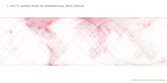Jednotlivé body představují jednotlivé snímky, pořízené astronauty z paluby ISS. Zdroj: http://natronics.github.com/ISS-photo-locations/