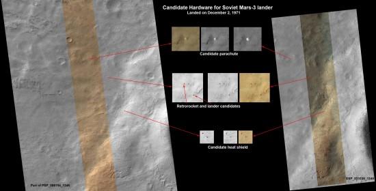 Pravděpodobné zbytky sondy Mars 3 na snímcích ze sondy MRO. Credit: NASA/JPL-Caltech/Univ. of Arizona