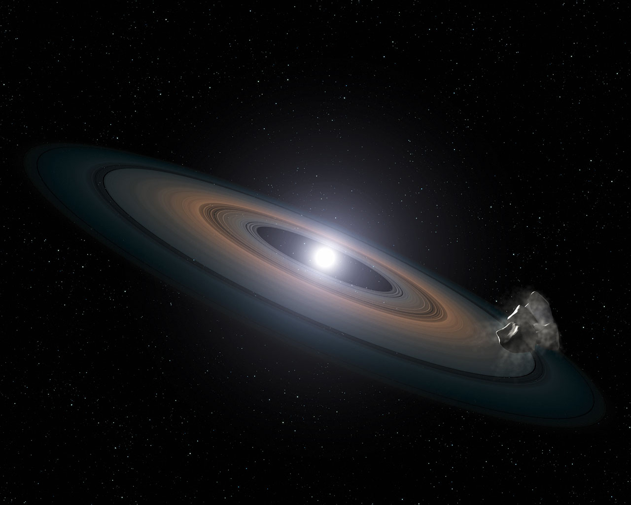 Disk trosek kolem bílého trpaslíka. Credit: NASA