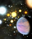 Exoplanety v hvězdokupě v představách malíře. Credit: Michael Bachofner / Harvard-Smithsonian Center for Astrophysics