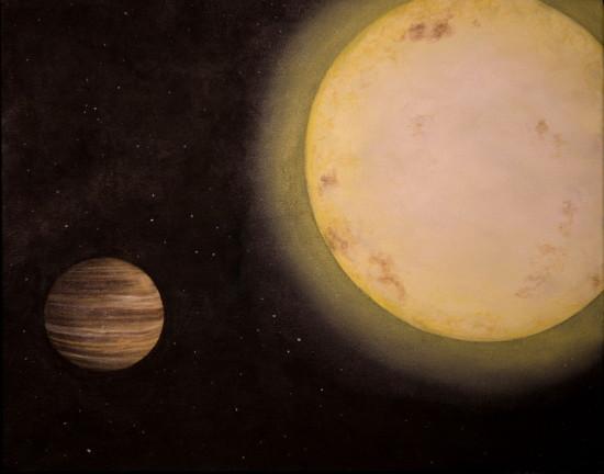 Exoplaneta KELT-6 b v představách malíře. CREDIT: University of Louisville/Erin Plew of Queen of Arts LLC