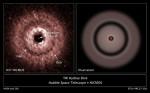 Vlevo: snímek z Hubblova dalekohledu, vpravo: schéma disku u hvězdy TW Hydrae a to včetně mezery (gap), ve které by mohla obíhat planeta. Credit: NASA, ESA