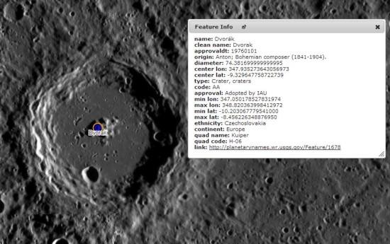 Kráter Dvořák, credit: NASA