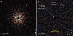 Planeta GJ 504 b na snímku z dalekohledu Subaru. Vyznačena je také pozice mateřské hvězdy. Credit: M. Kuzuhara et. al