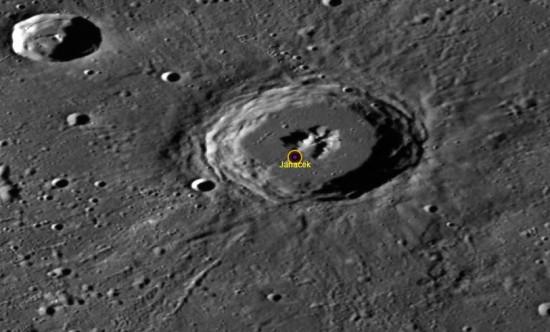 Pozdrav do Hukvald :) Kráter Janáček pojmenovaný po Leoši Janáčkovi na povrchu Merkuru. Credit: NASA