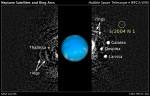 Nový i některé již známé měsíce Neptunu na snímku z Hubblova dalekohledu. Credit: NASA, ESA, and M. Showalter (SETI Institute)