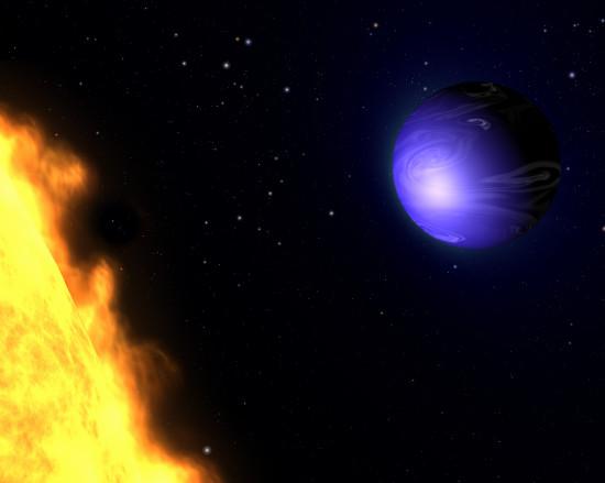 Modrá planeta HD 189733 b. Credit: NASA, ESA, and G. Bacon (AURA/STScI)