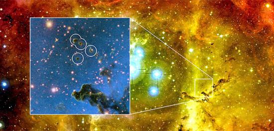 Globulettes v mlhovině Rosetta. Zdroj: chalmers.se