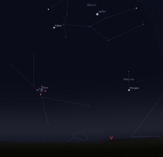 Hvězdokupa Jesličky 9. září ráno nad východním obzorem. Zdroj: Stellarium