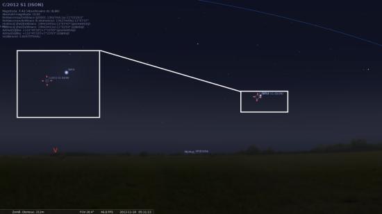 ISON v pondělí 18. listopadu. Zdroj: Stellarium