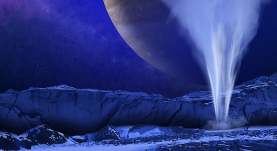 Gejzíry na Europě v představách malíře. Credit: NASA