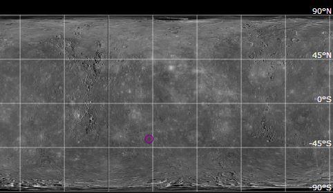 Pozice kráteru Lennon na Merkuru.