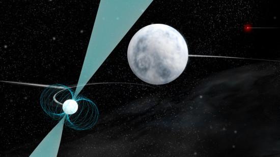 Trojitý systém obsahuje pulsar a dva bílé trpaslíky. Byly v něm kdysi i planety? Credit: Bill Saxton; NRAO/AUI/NSF