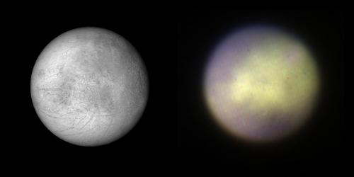 Vlevo: mapa Europy založena na datech ze sond Galileo, Voyager 1 a 2. Vpravo: snímek Europy z přístroje GPI, credit: Processing by Marshall Perrin, Space Telescope  Science Institute and Franck Marchis SETI Institute