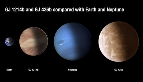 Exoplanety GJ 436 b a GJ 1214 b a jejich srovnání s planetami Sluneční soustavy. Credit: Nature