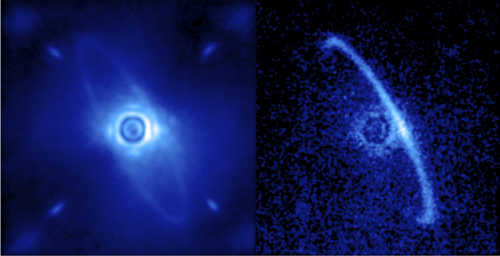 Hvězda HR 4796 A a disk prachu, který patrně pochází z komet a planet zbylých po formování planet. Vlevo je původní snímek a to včetně světla rozptýleného v atmosféře. Vpravo pak polarizované světlo (světlo hvězdy je nepolarizováno). redit: Processing by Marshall Perrin, Space Telescope Science Institute.