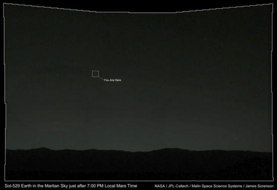 Země na snímku z laboratoře Curiosity z konce ledna 2014. Credit: NASA