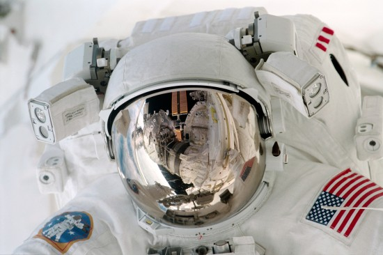 Close views of Paul Richards during an EVA
