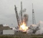 Start rakety Falcon 9, credit: NASA TV