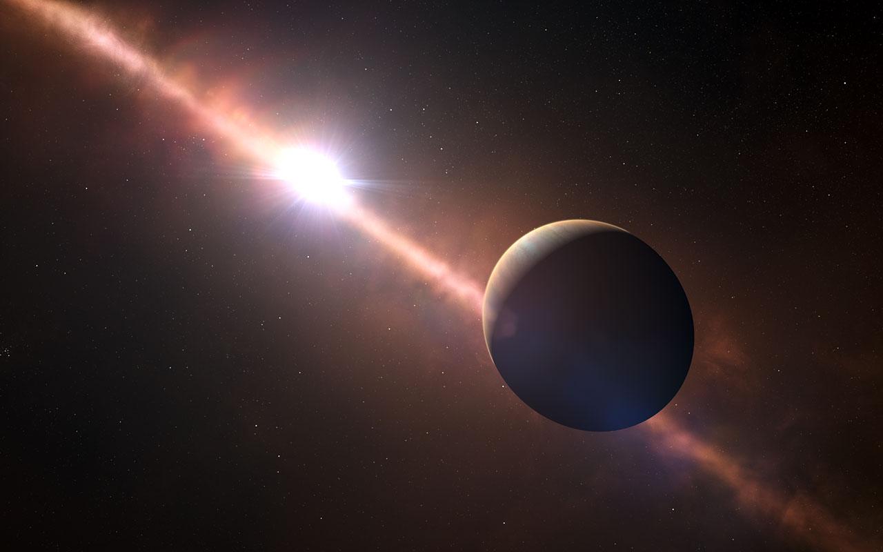Exoplaneta Beta Pictoris b v představách malíře. Credit: ESO