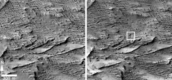 Stejná oblast před a po dopadu. Credit: NASA