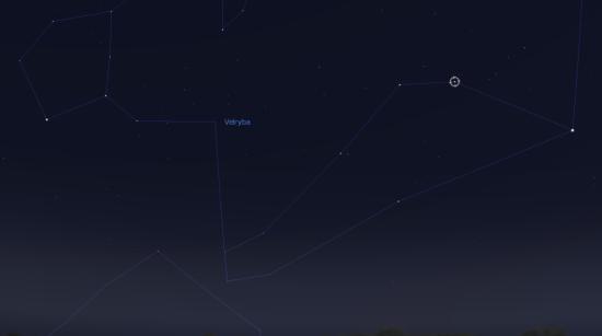 Pozice Eta Ceti v souhvězdí Velryby. Zdroj: Stellarium