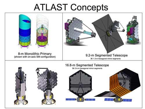 Možné podoby dalekohledu ATLAST. Credit: NASA