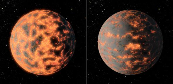 Povrch exoplanety 55 Cnc e před a po vulkanické aktivitě v představách malíře. Credit: NASA/JPL-Caltech/R. Hurt
