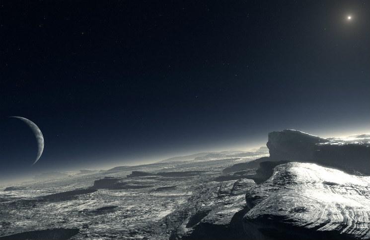 Pluto v představách malíře. CC BY 4.0, ESO-L. Calçada