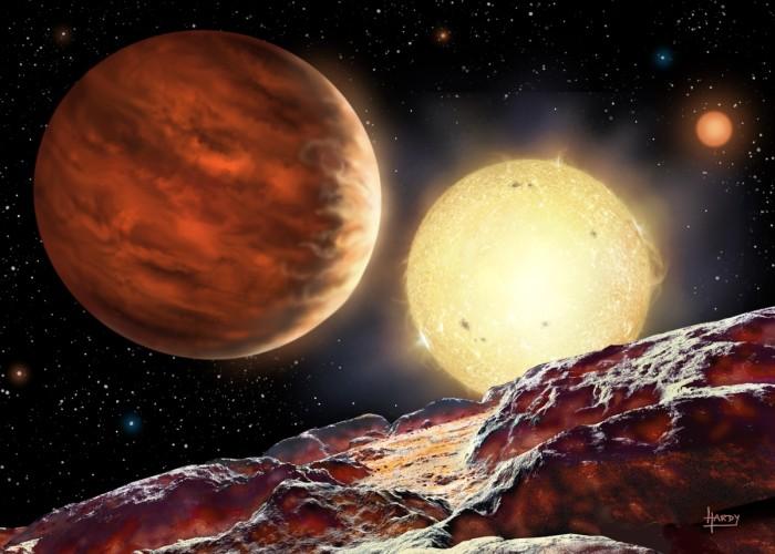 Exoplaneta WASP-142b v představách malíře. Credit: David A. Hardy,   http://www.astroart.org/