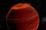 Polární záře v atmosféře hnědého trpaslíka. Credit: Chuck Carter and Gregg Hallinan/Caltech