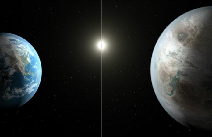 Kepler-452 b versus Země, foto: NASA
