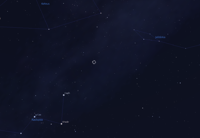 Pozice hvězdy HD 219134. Zdroj: Stellarium