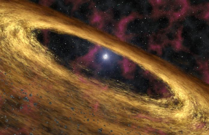 Disk u pulsaru, credit: NASA/JPL-Caltech/R. Hurt (SSC)