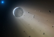 Asteroid nebo menší planeta u bílého trpaslíka v představách malíře. Credit: CfA/Mark A. Garlick