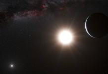 Exoplaneta u trojhvězdy Alfa Centauri v představách malíře. Credit: ESO/L. Calçada