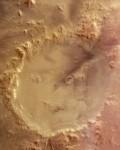 Smajlíkový kráter Galle na Marsu. Snímek pořídila evropská sonda Mars Express. Credit: ESA/DLR/FU Berlin, CC BY-SA IGO 3.0