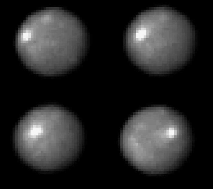 Ceres na snímcích z Hubblova dalekohledu. Credit: NASA