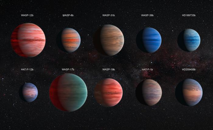 Hubblův dalekohled prozkoumal atmosféry deseti horkých jupiterů. Credit: NASA, ESA