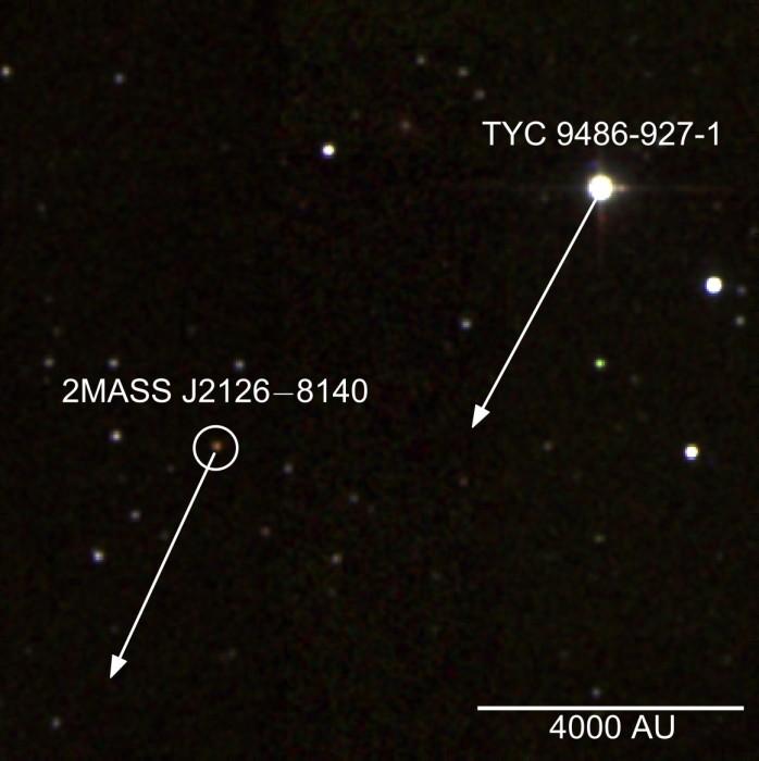 Pohyb obou těles po obloze. Credit: 2MASS/S. Murphy/ANU