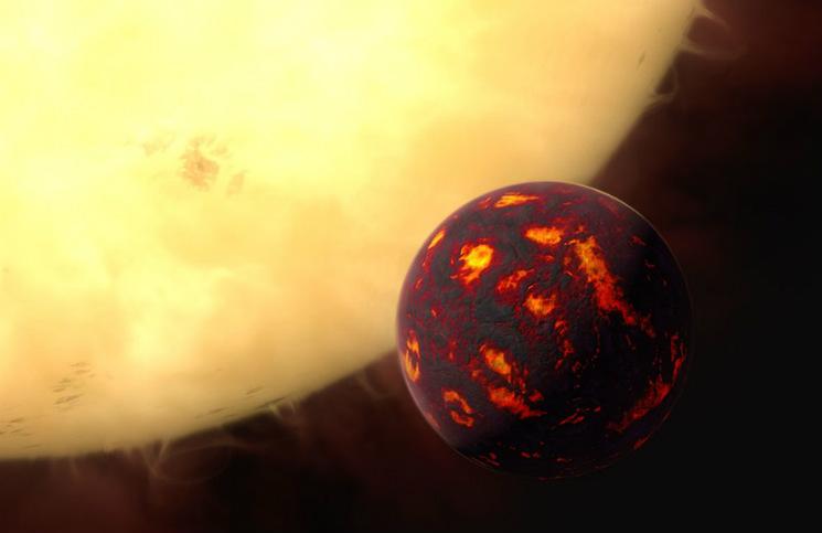 Exoplaneta 55 Cnc e. Credit: ESA/Hubble, M. Kornmesser