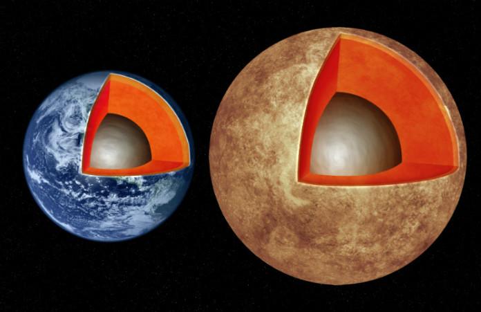 Vnitřní struktura Země a možná struktura exoplanety Kepler-93b. Credit: M. Weiss/CfA